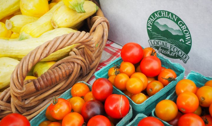food box with local squash and tomatoes